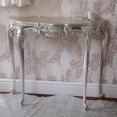 Oooh Silver Furniture!  Would be awesome in a blue room.