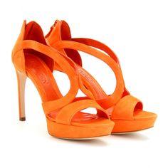 Alexander McQueen bright orange suede sandals - so cheerful ! alexander mcqueen, luxury fashion, sued platform, platform sandal, mcqueen sued, sandals, mytheresacom gmbh, alexand mcqueen, women shoe