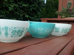 This would complete my mixing bowls set of the turquoise cinderella butter print!  VINTAGE Turquoise Rooster and Corn Blue Amish by TheGlassButtonJar, $45.00