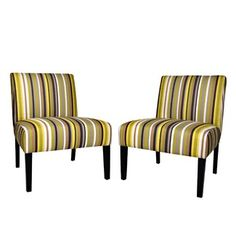 angelo:HOME Bradstreet Chair Set in Sunflower Yellow Stripe