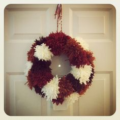 Another view of my homemade pom pom wreath