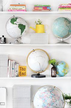 book shelf styling // globes