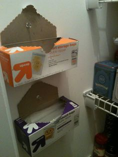 Save pantry space by tacking boxes to the wall { So simple and so useful! }