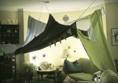 Living Room fort in green  www.whitefence.com