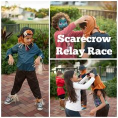 Scarecrow Relay Race Game for Halloween Party