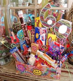 60th birthday party retro candy box- maybe I could do something like this only on a smaller scale