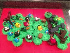 Angry birds cupcake cake.