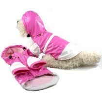 "Two Tone Dog Raincoat with Removable Hood in Pink and White Size: Small (10"" L)"