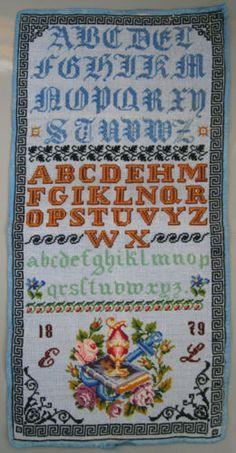 1879 ANTIQUE VERY COLORFUL AUSTRIAN WOOL WORK SAMPLER ALPHABET BIBLE ABECEDAIRE