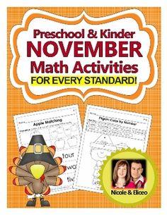 Preschool & Kindergarten Common Core Math Pack for November