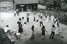 Hippies dancing in a commune