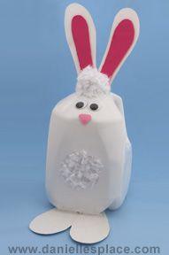 Easter bunny milk jug craft for kids