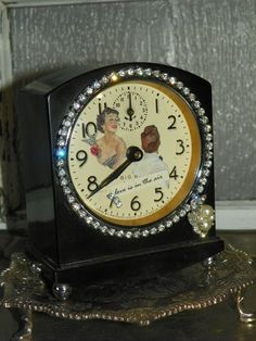 ❥ Love Is In the Air Altered Repurposed Vintage Clock