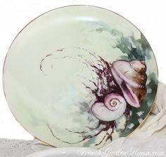 Pair Antique Handpainted French Haviland Limoges Shell Plates handpainted china, shells, plates, peintur porcelain, limog shell, handpaint china, glorious china, shell plate, antiques
