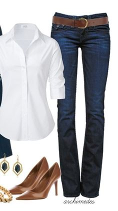 Classic blue jeans and crisp white shirt.