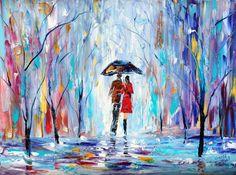 SALE  Landscape painting original oil Rain LOVE by Karensfineart, $125.00