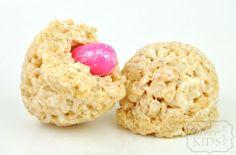 gum ball stuffed rice krispie treat eggs