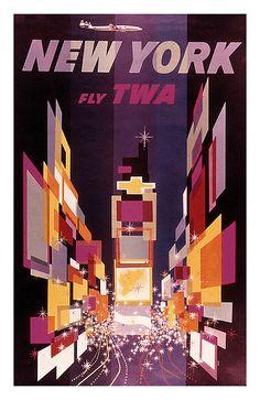 50s travel poster TWA