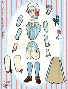 Articulated Paper Doll Max Robespierre by RivkaZ on Etsy, $8.00