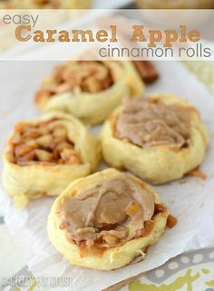 Easy Caramel Apple Cinnamon Rolls made with Crescent Rolls! | crazyforcrust.com | #apple #caramel #Fallbaking