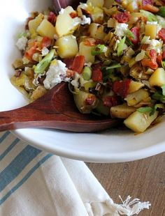 15. Caramelized Leek, Bacon, and Goat Cheese Potato Salad