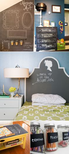 A chalkboard painted dresser, chalk headboard, jars and more. Great ideas!