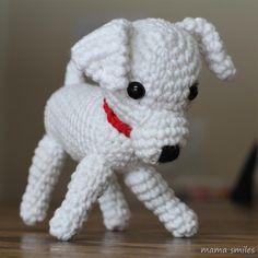 crocheted amigurumi puppy dog.