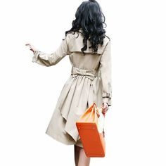 Free Shipping 017 plus size trench medium-long autumn  plus size clothing double breasted bow mm $41.00 - 42.00