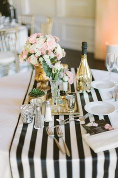 #gold, #table-runners, #stripes, #centerpiece  Photography: Katie Shuler Photography - www.katieshuler.com  Read More: http://www.stylemepretty.com/2014/07/25/classic-indoor-wedding-with-a-dash-of-glam/