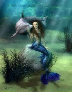 Original Fantasy Mermaid and Dolphin Fine Art Print by Landry