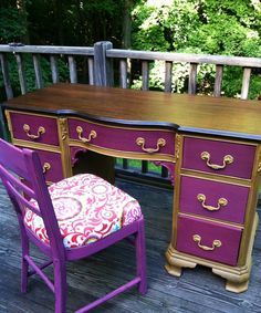 WHAT. Nice. This is an etsy, but I bet you could just do something like this by yourself, I mean obviously, somebody else did it, but all you have to do is repaint the drawers a color, and choose a stain to go with it.