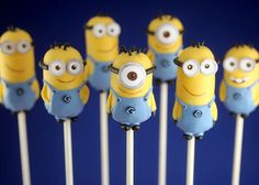How to make Minion Cake Pops by Bakerella - scroll down page until you find this picture and directions.