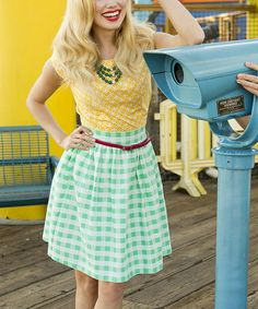 Green White Gingham A-Line Skirt, mixed match patterns