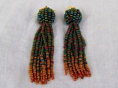 Tassel Earrings in Irridescent Green Blue and by LisaWeirJewellery, €60.00