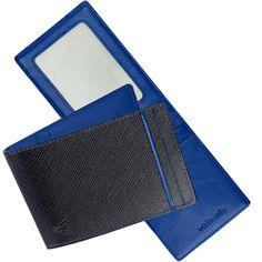 RFID Money Clip Wallet: Imported Black Leather Outside/Blue Inside $59.50