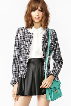Studded Tweed Jacket at Shopnastygal.com $68