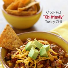 crock pots, crockpot, food, bell peppers, turkey chili, recip, ground turkey, kid, meal