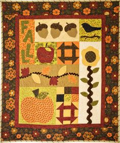 fun #applique and #churndash #blocks in this #fall #quilt