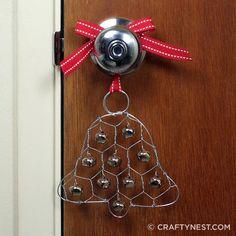 chicken wire jingle bell ornament