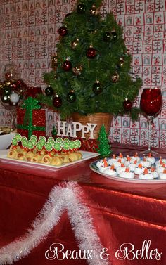 Tacky Sweater Christmas Party Food Table via Beaux & Belles