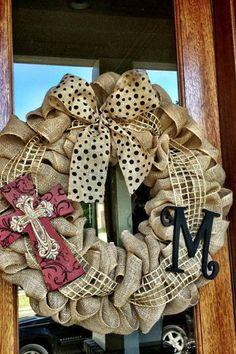 Custom Natural Burlap Monogram Cross Wreath by Frontdoorshowcase
