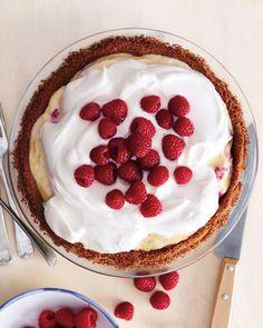 Raspberry Cream Pie with a raspberry-vanilla custard filling...yum! | Martha Stewart...dessert :D