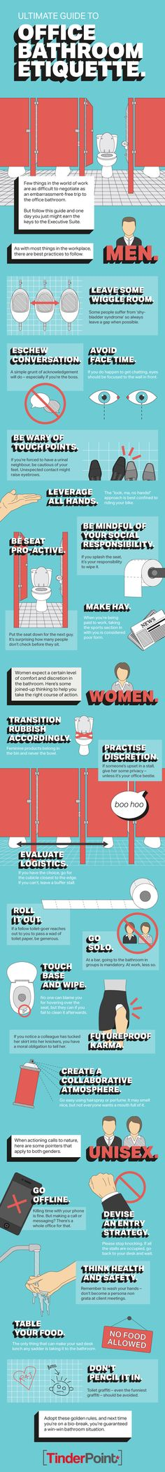 The Ultimate Guide to Office Bathroom Etiquette #infographic #Office #Bathroom #infografía