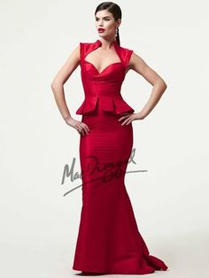 Black White Red by Mac Duggal Peplum Mermaid Pageant Gown style 61726R