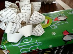 Turn pages from an old text book or magazine into gift bows.