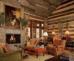100s of Indoor Fireplaces  http://www.pinterest.com/njestates/indoor-fireplace-ideas/   Thanks To  http://www.njestates.net/ living rooms, home interiors, mountain, architectural digest, fireplac, logs, log cabins, english country, hous