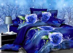 #rose #duvetcoverset  Buy link-->http://goo.gl/UZcNx9 Discover more-->http://goo.gl/MDjeZ3 Live a better life,start with @beddinginn http://www.beddinginn.com/product/Graceful-Blue-Rose-Print-4-Piece-Polyester-Duvet-Cover-Sets-11034819.html