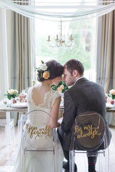 chair back signs, photo by Chantal Lachance-Gibson Photography http://ruffledblog.com/first-look-inspired-scottish-wedding #weddingideas #signage