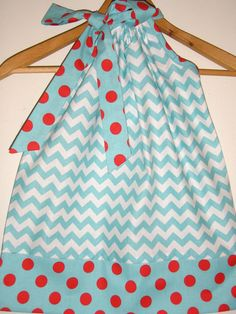 Aqua Chevron with red dots  Riley Blake by ladyoutofcarolina, $12.99