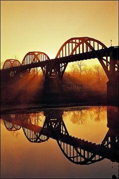 Arkansas: What a magical view of the Cotter Rainbow Bridge. Definitely a site to see in Arkansas! white river, beauti, rivers, place, bridges, pont, cotter bridg, reflect, arkansas